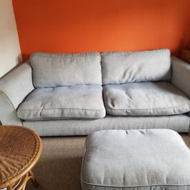 Blue Large Settee with matching armchair - VGC