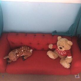 Beautiful bespoke deep buttoned red sofa