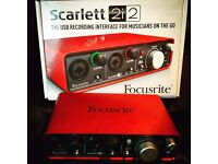 Scarlette 2i2 Audio Interface IMMACULATE CONDITION WITH BOX