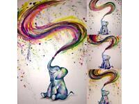 A4 / A5 Card - Colourful Elephant