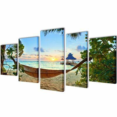 vidaXL Set Imagen Cuadro Pintura Póster Lienzo Deco Playa Con Hamaca 100x50cm
