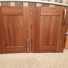 Set of darkwood kitchen cupboard doors