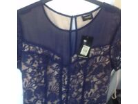 Navy lace dress size 12. new with label still on it.