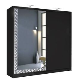 BLACK WHITE FINISH**DIAMOND DESIGN BORDER**LED LIGHT**BRAND NEW 2 DOOR SLIDING WARDROBE WITH MIRROR