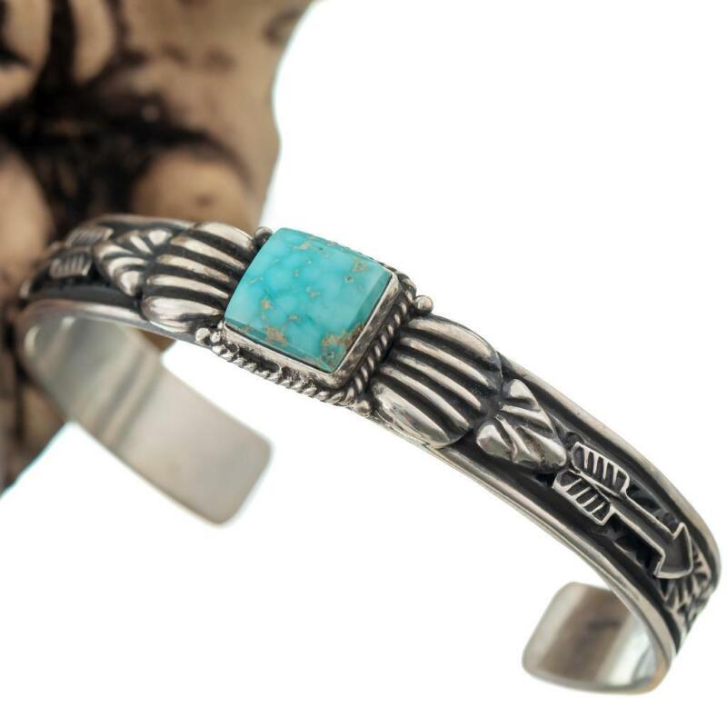 MENS Navajo Turquoise Bracelet  Sterling Silver SONORAN Mountain Arrowhead Cuff