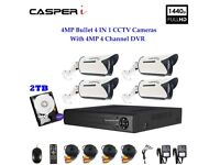 4MP DVR With 4MP Bullet Cameras Motion Detection 4IN1 High Definition With HDD