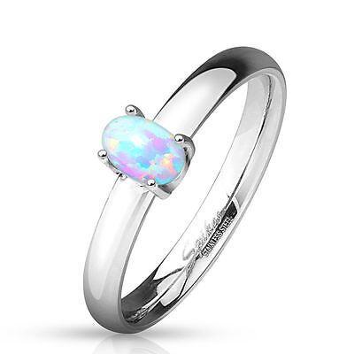 Oval Opal Prong Set Stainless Steel Ring (FL121) (Opal Set Ring)