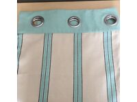 Linen Eyelet curtains beige stripped turquoise/mint