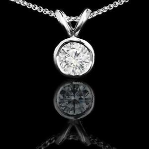 14k White Gold Diamond Pendant 0.90CT Pendentif en Diamant Rond