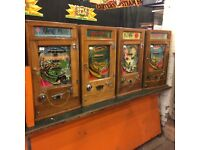 Coin operated, one arm bandits , slot machines