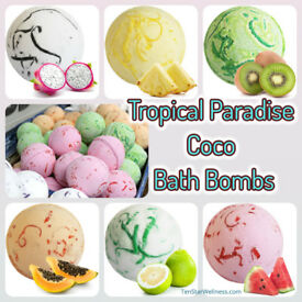 Set of 3 Tropical Paradise Coco Bath Bombs.