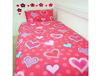 HEARTS, PINK AND AQUA SINGLE BEDDING SET, brand new