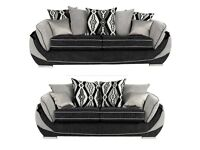 🚚toni black and grey 3+2 seater sofas**Free delivery**