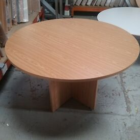 Circular oak table with wooden stand