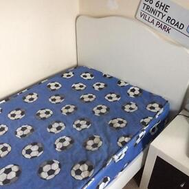 White Single Bed from Next with Footballs VGC