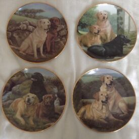 4 X FRANKLIN MINT COLLECTABLE DOG PLATES - YELLOW LABRADOR