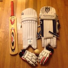 Crickets set, pads, gloves bat and ball