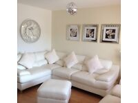 White leather corner suite, chair and footstool