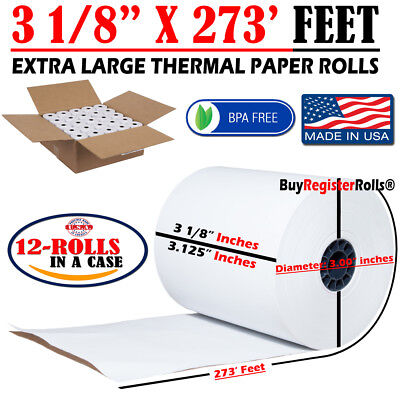 3 18 X 273 Ft Extra Large Thermal Paper Rolls Same Day Free Shipping 12 Roll