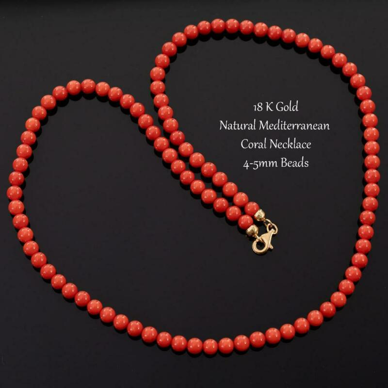 18K GOLD Coral Bead Necklace 4-5mm Beads Natural Sardinian Red Mediterranean