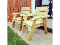 Jack and Jill seats / love seat / Picnic table bench / Garden Furniture
