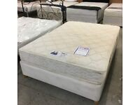 4ft6 Slumberland double divan bed on legs (mattress and base)