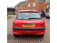 Peugeot 206,Long MOT,Wonderful Driving,Well maintained,Very efficient on Fuel, Low Mileage,3dr