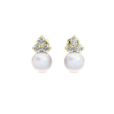 14K Yellow Gold 0.30Ct Diamond & Cultured Freshwater Pearl Ball Stud Earrings
