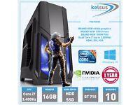 ULTRA FAST Quad Core i7 Gaming PC HDD & SSD 16GB Windows 10 Desktop Computer