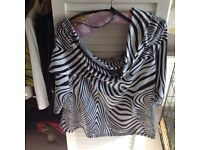 Ladies Black and white sequinned Ribhoff cowl neck top with 3/4 sleeves - size 14