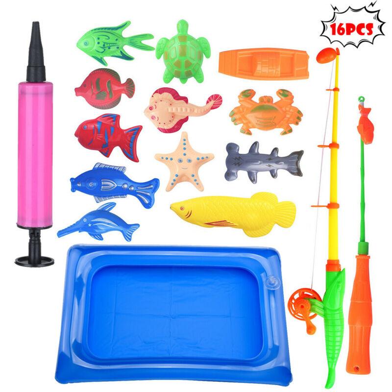 18pcs Bath Toys For Kids Fishing Magnetic Toys Floating Fish