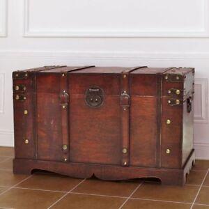 Large Wooden Treasure Storage Trunk Blanket Steamer Chest Vintage Antique  Style