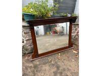 Large Wooden Mantel Mirror