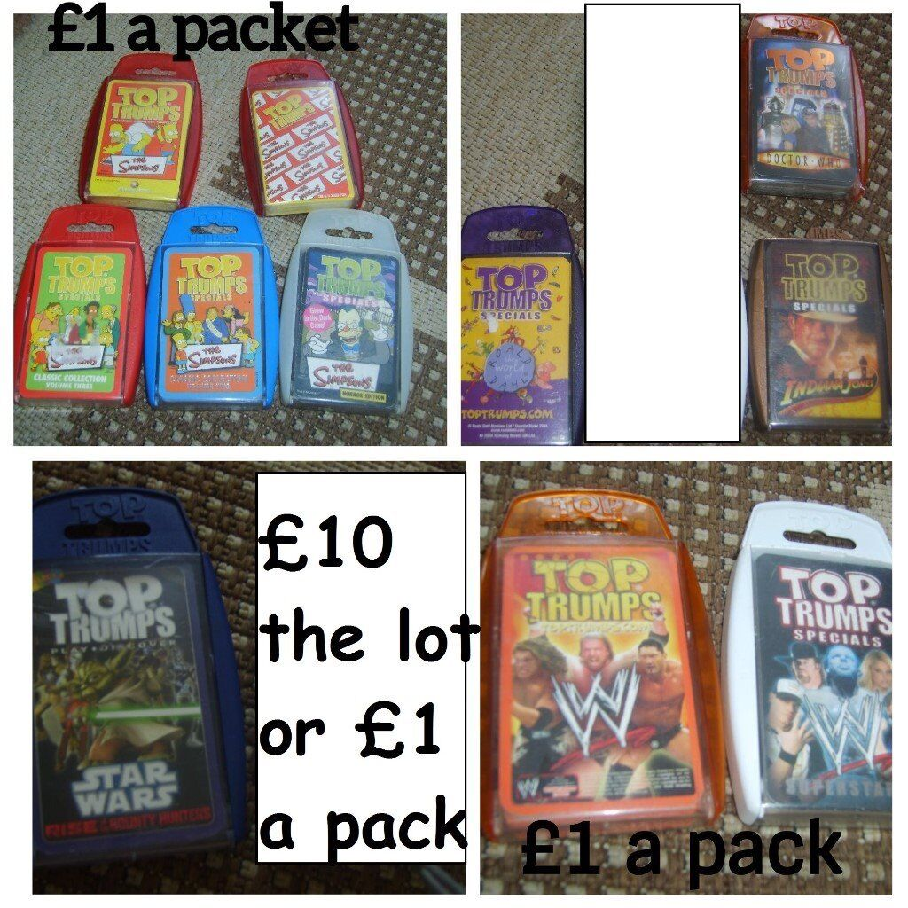 Top trumps cards £1 a pack or all 11 for £10 collection from didcot