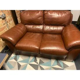 Brown double leather sofa