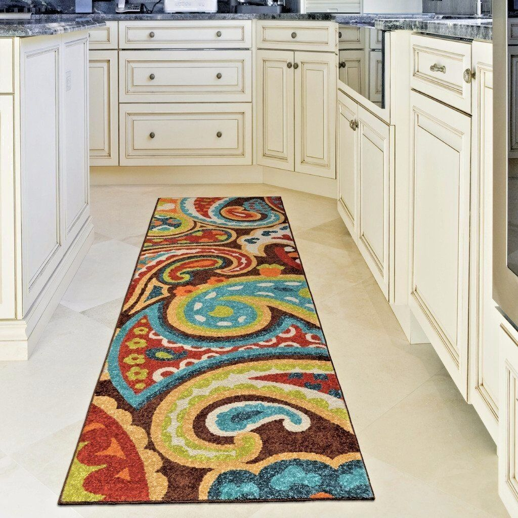 Good Quality Outdoor/Indoor Paisley Modern Area Rug   Multi Color ~
