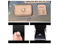 Certified 1.01 carat diamond and new diamond white gold engagement ring