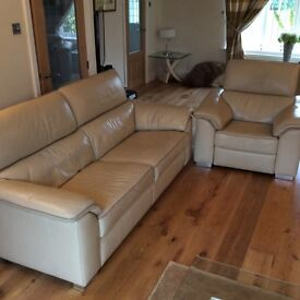Quality Biege Leather Sofa & Powered Reclining Matching Armchair