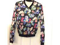 Ladies size 6 bumper black/floral bomber jacket