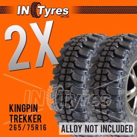 2x 265/75R16 Kingpin Trekker Tyres 265 75 16 Mud Terrain MT Like Insa Turbo x2