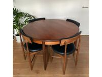 Mid Century Modern G Plan Table with 4 Chairs
