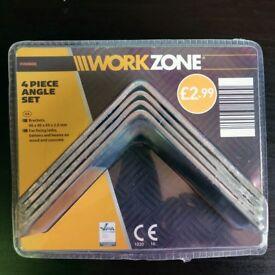 Work Zone 4 Piece Angle Bracket Set - 90mm x 90mm x 65mm x 2.5mm