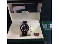 New boxed mens rubber bracelet black face rose gold casing Rolex yachtmaster everose automatic movem