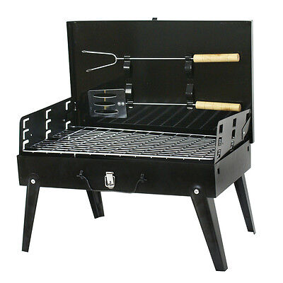 Used Folding BBQ Grill Charcoal Barbecue Patio Backyard Home Meat Cooker Smoker