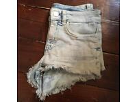 Size 6 bleached denim short shorts
