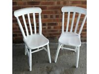 2 WHITE PAINTED KITCHEN CHAIRS