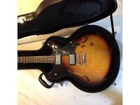 Rally Neosound 335 Hollow Body Guitar Tobacco Sunburst with Hard Case as new