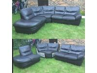 DFS Brown leather curved corner sofa 3pcs can be delivered