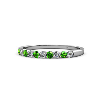 Green Garnet and Diamond 2.4mm Wedding Band 0.57 Carat tw in 14K Gold JP:10948](Green And Gold Wedding)