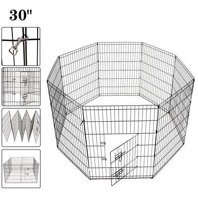 8 Panel 30'' Dog Playpen Crate Fence Pet Exercise Puppy Kennel Black Cage